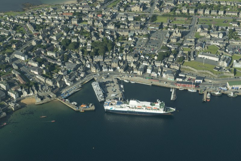 Oblique aerial view of Lerwick Harbour, looking WSW.