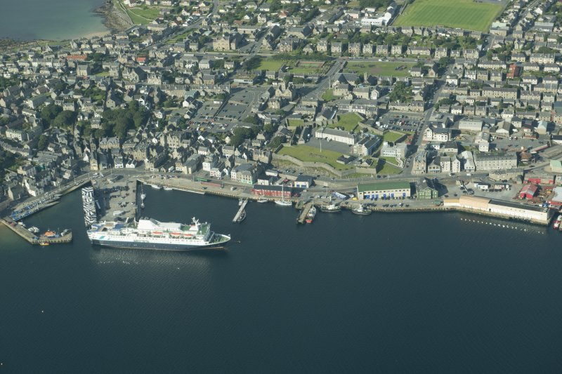 Oblique aerial view of Lerwick Harbour, looking SW.