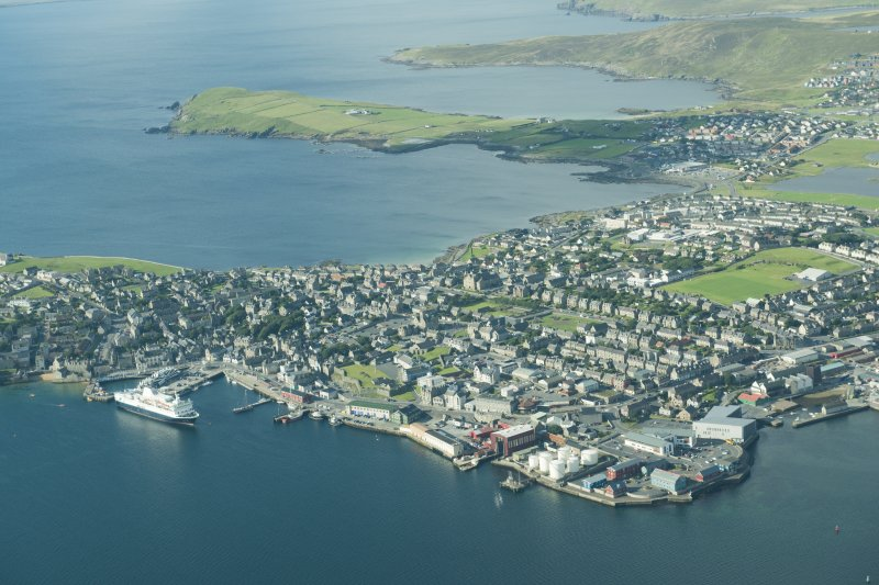 Oblique aerial view of Lerwick, looking SW.