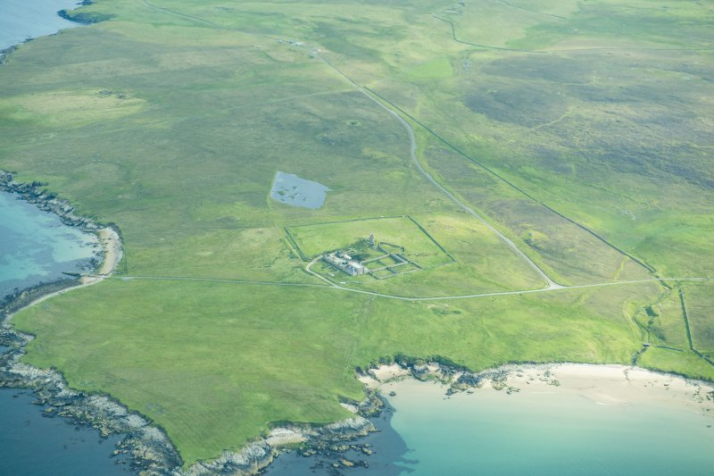 Oblique aerial view of Brough Lodge and Snabrough, Fetlar looking NNE.