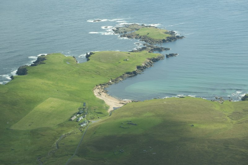 Oblique aerial view of Holm of Skaw, Unst, looking NE.