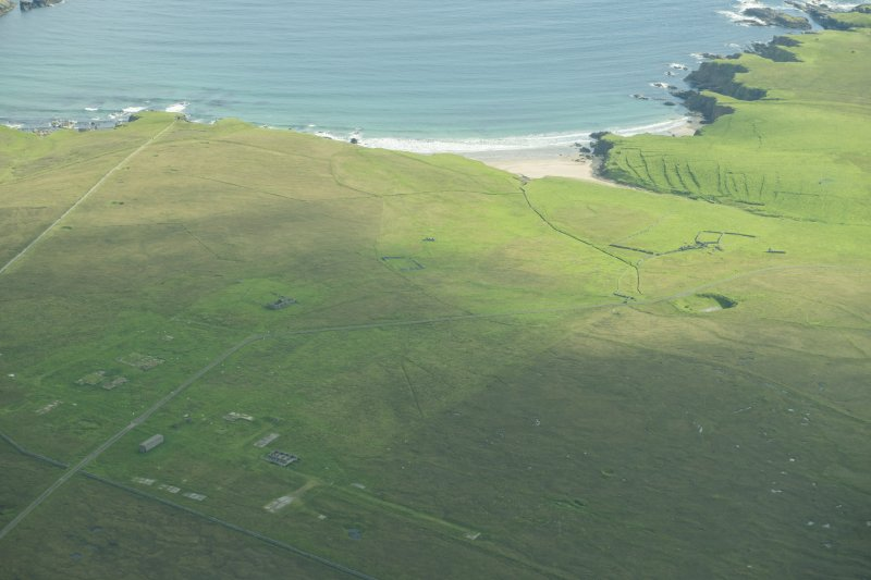 Oblique aerial view of Inner Skaw, Unst, looking NE.
