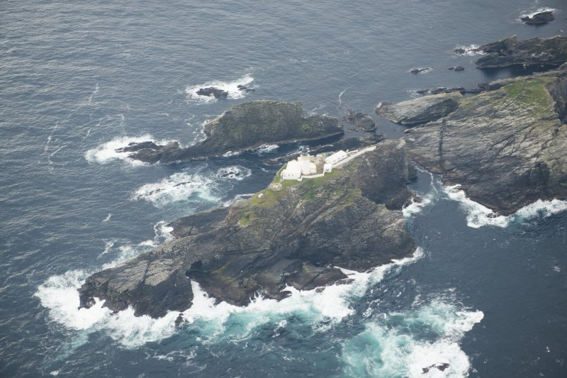 Oblique aerial view of North Unst Lighthouse, Muckle Flugga, looking SSE.