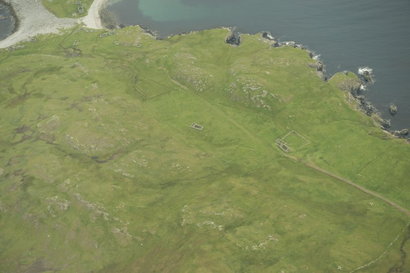 Oblique aerial view of Fethaland, Yell, looking NE.