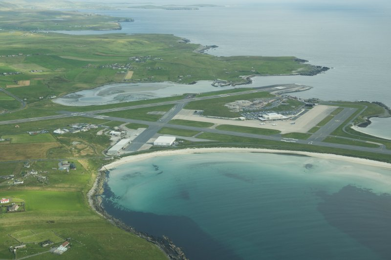 Oblique aerial view of Sumburgh Airfield, looking N.