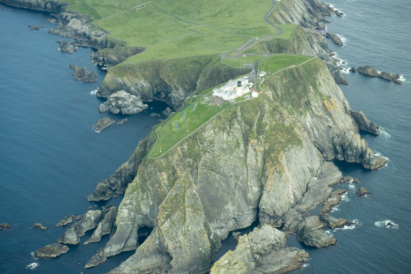 Oblique aerial view of Sumburgh Lighthouse, looking N.