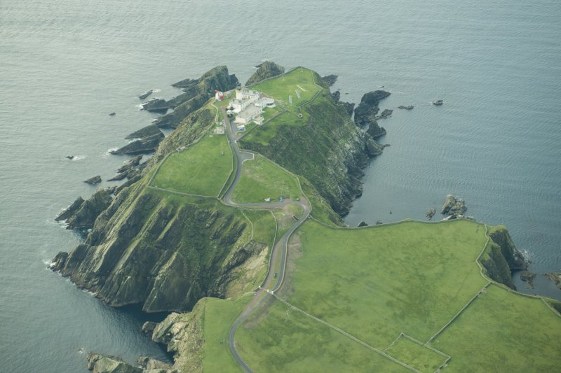 Oblique aerial view of Sumburgh Head Lighthouse, looking S.
