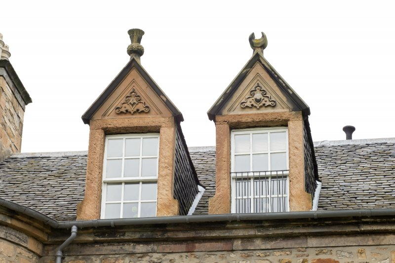 Detail of pair of dormer windows on south front.