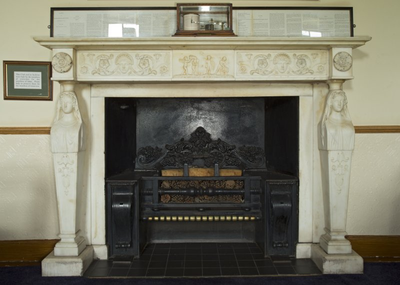 1st floor. Members bar. Detail of fireplace.