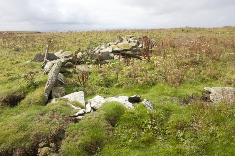 View of cairn and possible hut, Swona.
