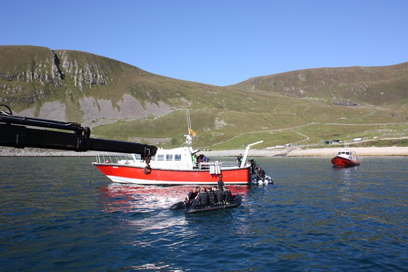 General view of disembarkation from Orca III at Hirta (Orca II and Enchanted Isle in shot).