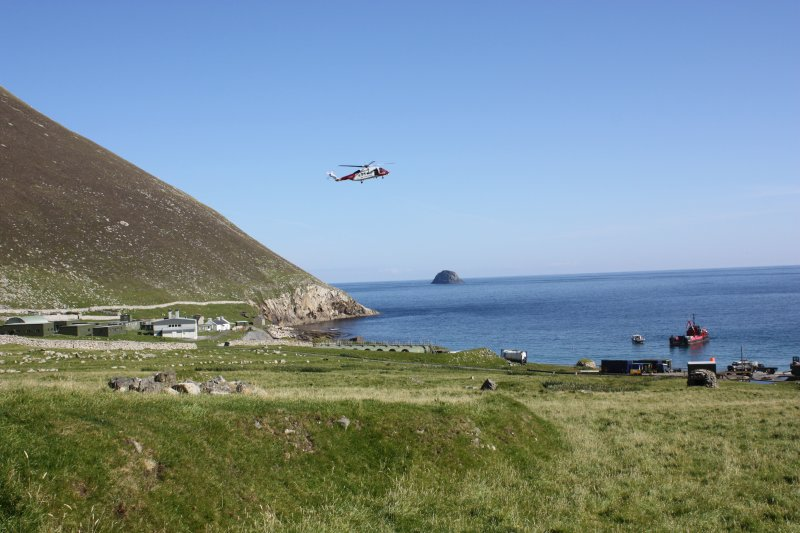 General view of the coastguard helicopter landing during an emergency on St Kilda.