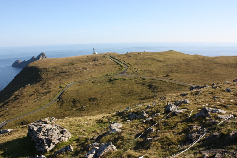 General view of Mullach Sgar, St Kilda, showing access roads, cleitean and mast.