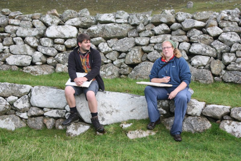 Hirta, St Kilda. St Kilda Archaeologist Kevin Grant and archaeologist Cathy McIver.