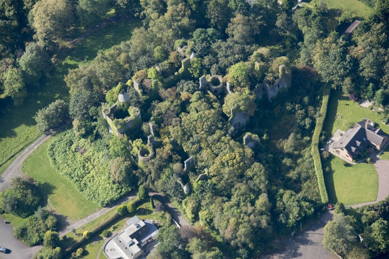 Oblique aerial view of Buchanan Castle, looking WSW.