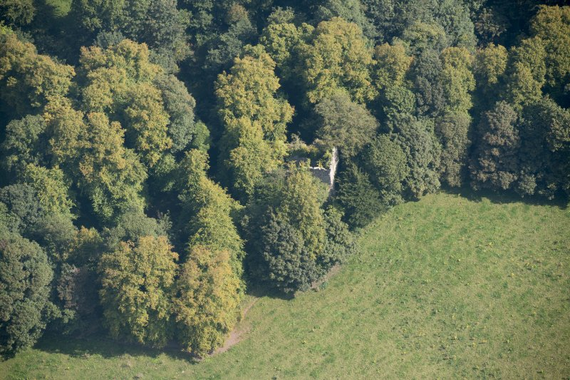 Oblique aerial view of Kilmahew Castle, looking E.