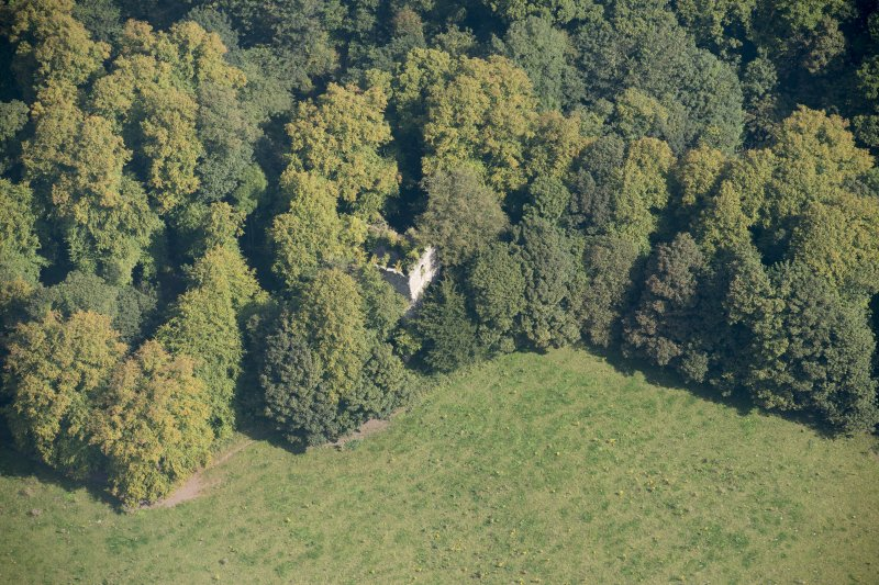 Oblique aerial view of Kilmahew Castle, looking NE.