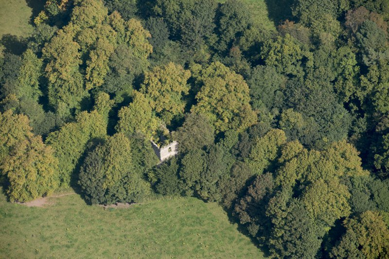 Oblique aerial view of Kilmahew Castle, looking NNE.