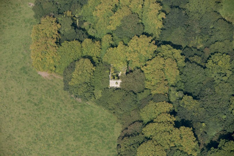 Oblique aerial view of Kilmahew Castle, looking N.