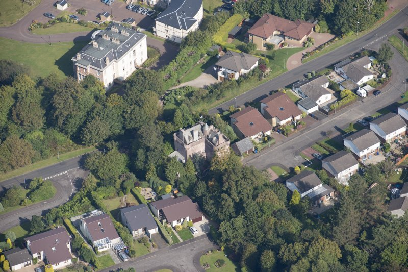 Oblique aerial view of Castle Levan, looking NNE.
