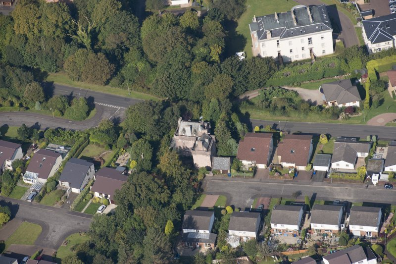 Oblique aerial view of Castle Levan, looking NNW.