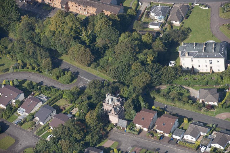 Oblique aerial view of Castle Levan, looking NW.