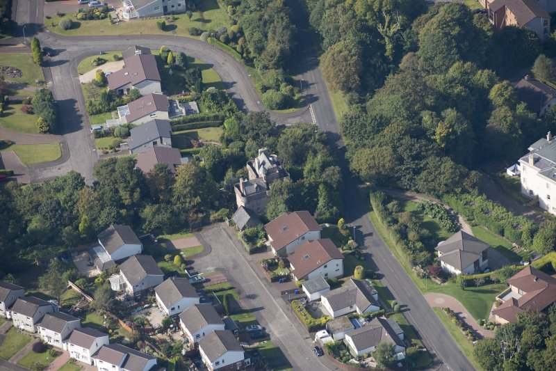 Oblique aerial view of Castle Levan, looking WNW.