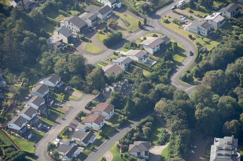 Oblique aerial view of Castle Levan, looking WSW.