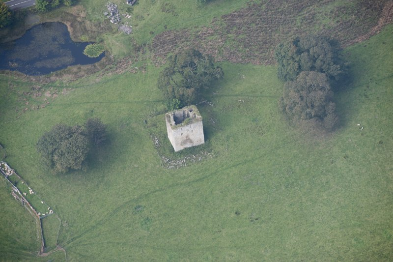 Oblique aerial view of Barr Castle, looking NW.