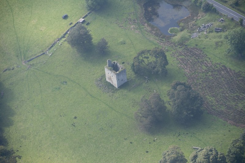 Oblique aerial view of Barr Castle, looking WSW.
