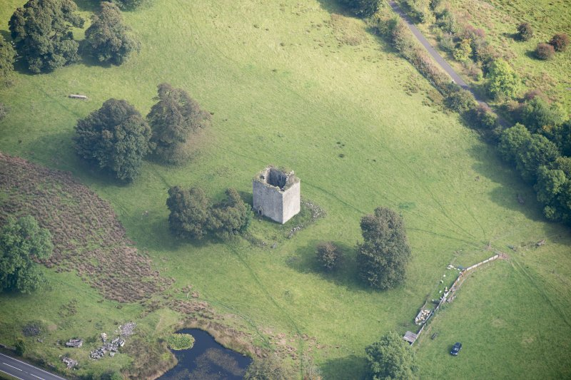 Oblique aerial view of Barr Castle, looking E.