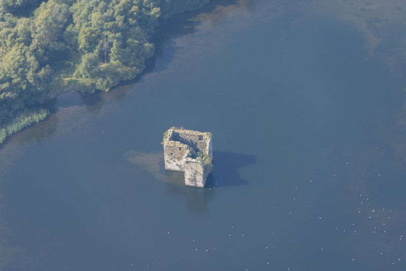 Oblique aerial view of Stanely Castle, looking WNW.