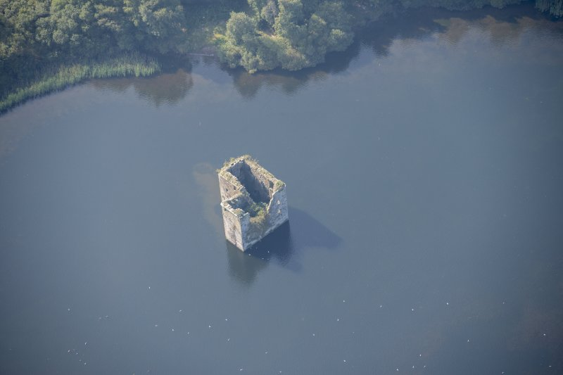 Oblique aerial view of Stanely Castle, looking WSW.