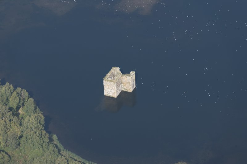 Oblique aerial view of Stanely Castle, looking N.