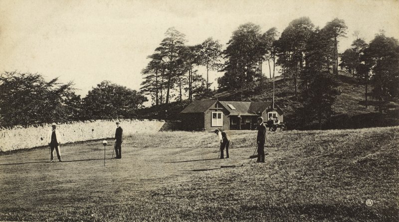 View of golfers at Oban golf course.