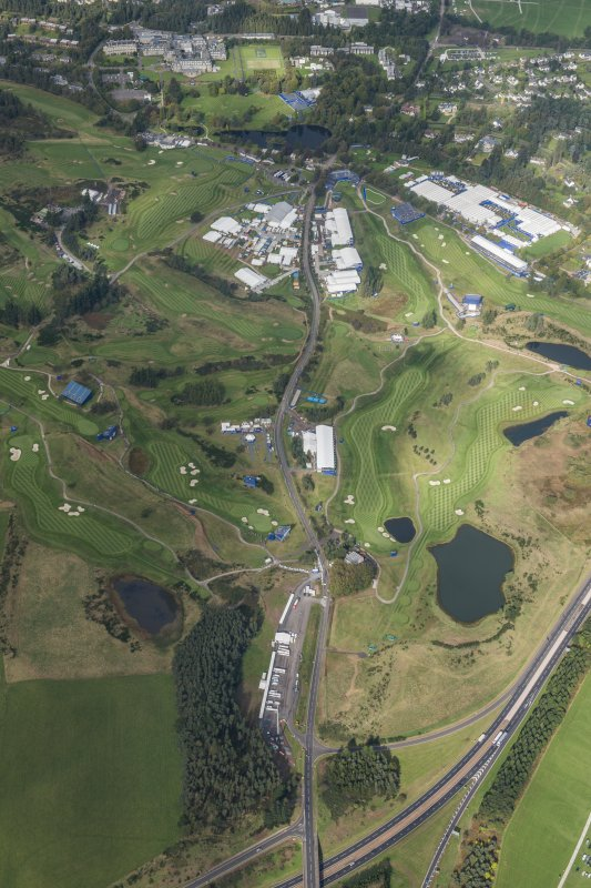 Oblique aerial view of the 2014 Ryder Cup PGA Centenary Golf Course, looking NNW.