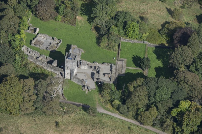 Oblique aerial view of Mugdock Castle, looking N.