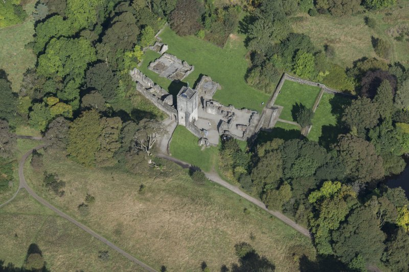 Oblique aerial view of Mugdock Castle, looking NNW.