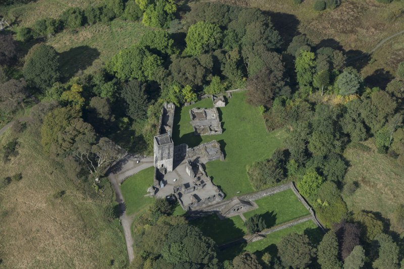 Oblique aerial view of Mugdock Castle, looking W.