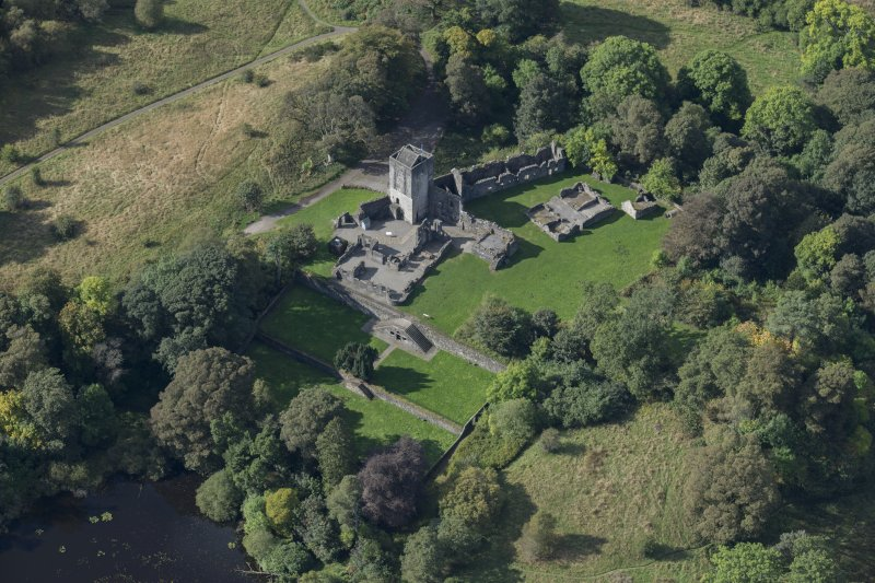 Oblique aerial view of Mugdock Castle, looking WSW.