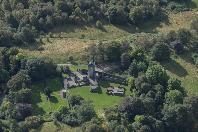 Oblique aerial view of Mugdock Castle, looking SSW.