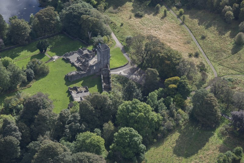 Oblique aerial view of Mugdock Castle, looking SSE.