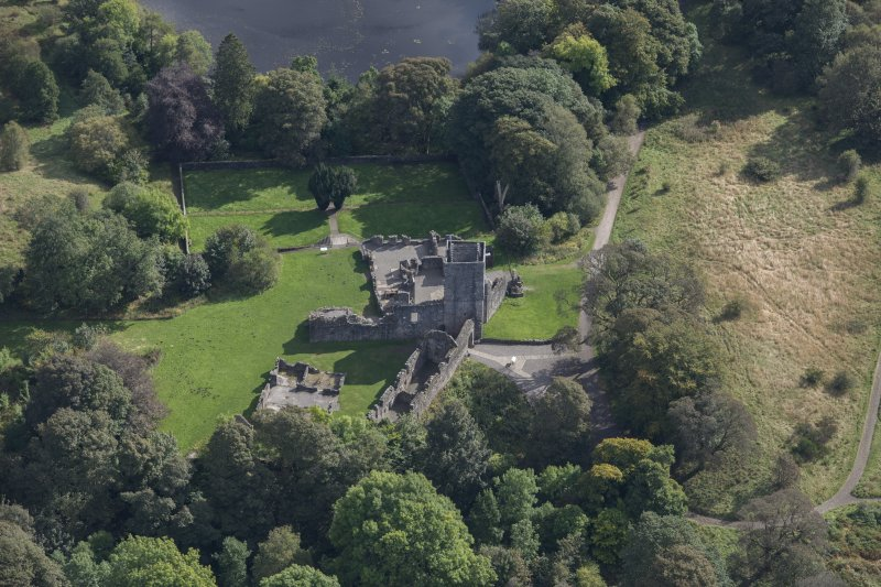 Oblique aerial view of Mugdock Castle, looking SE.