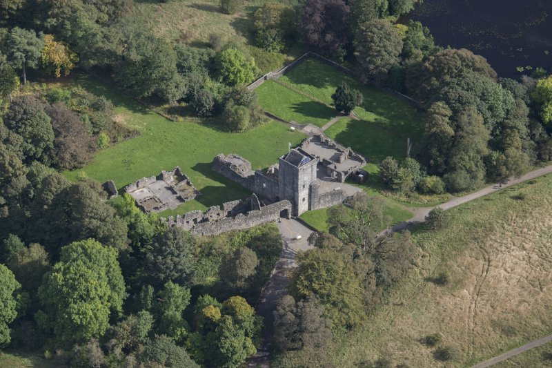 Oblique aerial view of Mugdock Castle, looking NE.