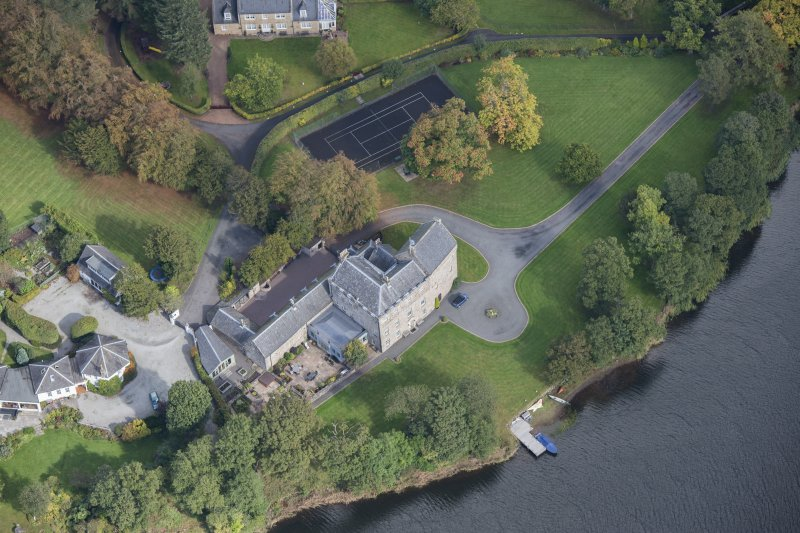 Oblique aerial view of Bardowie Castle, looking NE.