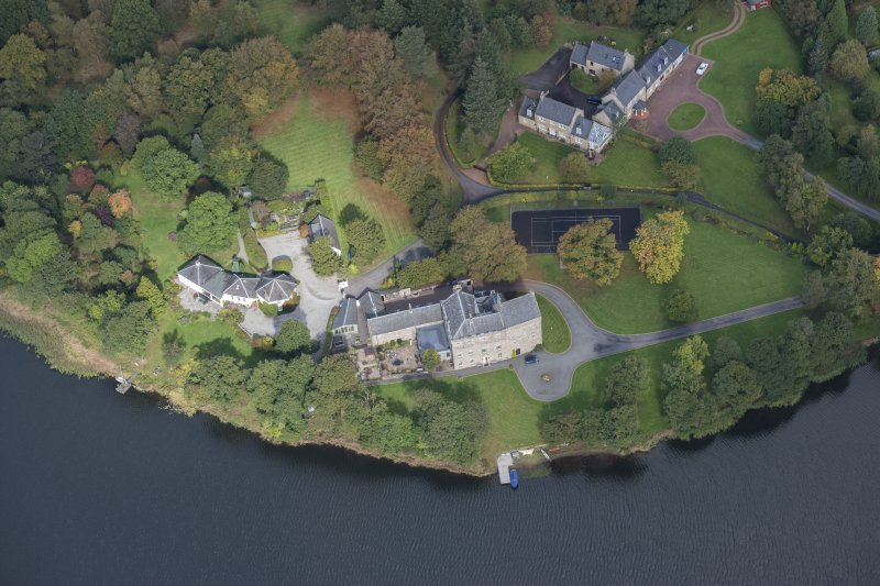 Oblique aerial view of Bardowie Castle, looking NNW.