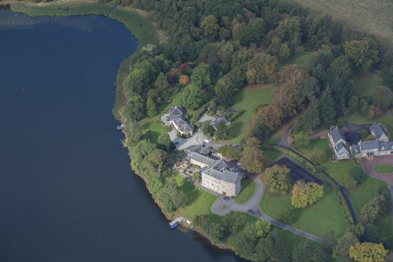 Oblique aerial view of Bardowie Castle, looking NW.