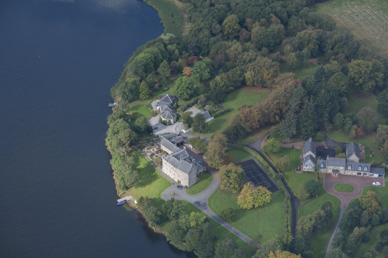 Oblique aerial view of Bardowie Castle, looking W.