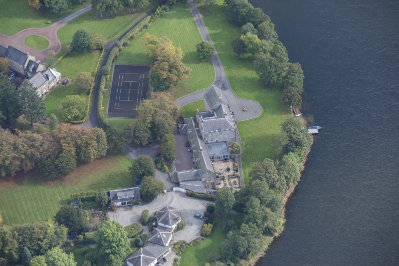 Oblique aerial view of Bardowie Castle, looking E.