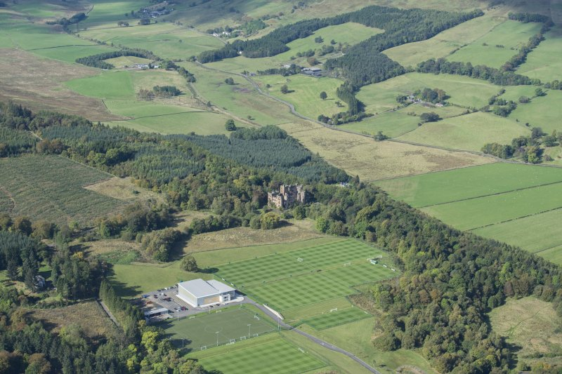 Oblique aerial view of Lennox Castle and Celtic FC Training Facilty, looking WNW.